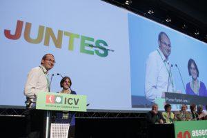 Joan Herrera y Dolors Camats en la X Asamblea de ICV